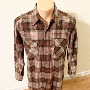 Pendleton | Brown Plaid Virgin Wool Flannel SZ M